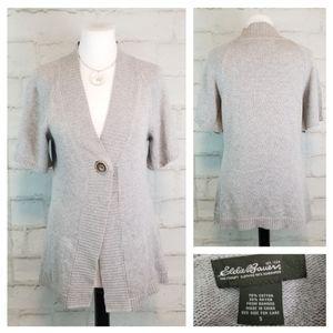 Eddie Bauer S Gray Short Sleeve Cardigan Sweater
